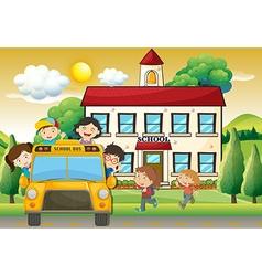 Children on schoolbus to school vector