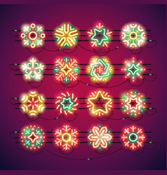 christmas colorful neon snowflakes vector image