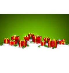 Christmas green background with gift boxes vector