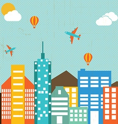 Cityscape buildings in retro background vector