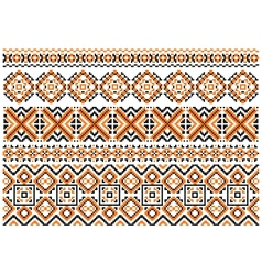 Close up cross stitch ethnic borders and patterns vector