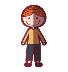 Color silhouette shading cartoon blonded boy with vector