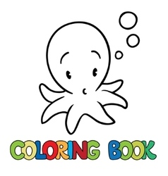 Coloring book of funny octopus vector image