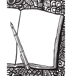 coloring page with notebook pen and doodle bg vector image