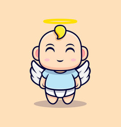Cute baby angel have wings flat icon character vector