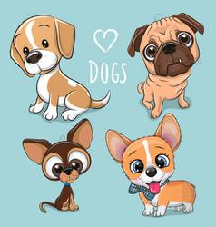 Cute cartoon dogs on a blue background vector