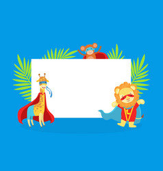 cute superhero animals with blank banner giraffe vector image