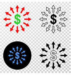 Dollar emission eps icon with contour vector