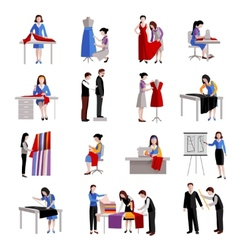 Dressmaker Icons Set vector image