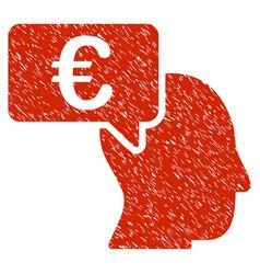 euro businessman idea icon grunge watermark vector image