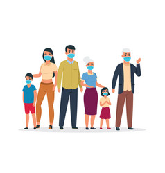 family virus cartoon old and young characters vector image