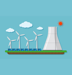 Field with wind turbines and silo vector