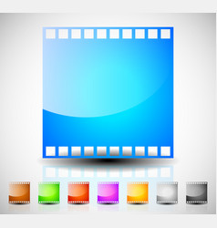 Film strip film frame icons for photography vector