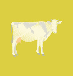 Flat shading style icon cow vector