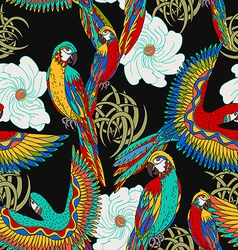 floral black background with parrots vector image