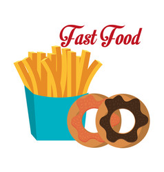 Fries donuts fast food design isolated vector