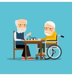 Game of chess Two old men playing chess vector