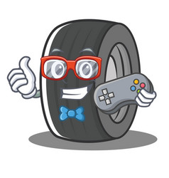 Gamer tire character cartoon style vector