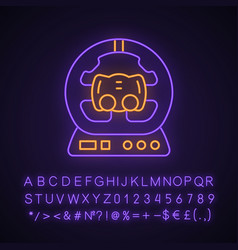 Gaming accessory neon light icon vector