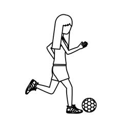 Girl playing soccer design vector