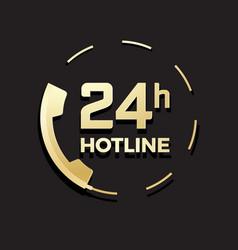 Golden phone icon 24 hours hotline vector