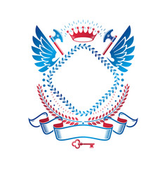 graphic winged emblem created with ancient crown vector image