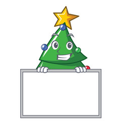 Grinning with board christmas tree character vector