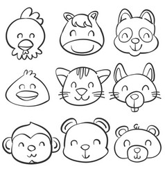 hand draw cute animal doodle style vector image vector image