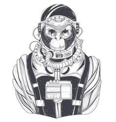 Hand drawn a monkey astronaut chimpanzee vector