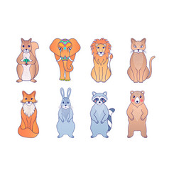 hand drawn animals vector image