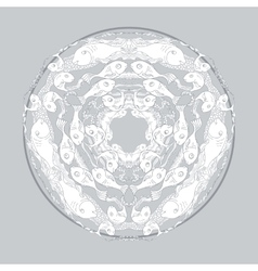 Hand drawn mandala with fishes and alga on grey vector image
