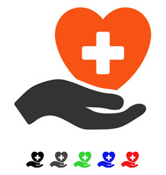 Hand offer cardiology flat icon vector