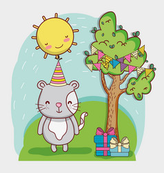happy birthday card cartoons vector image