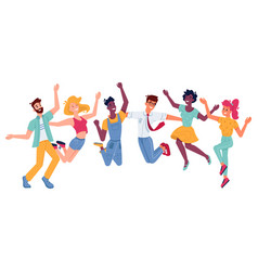 happy people jumping smiling in joy and fun vector image