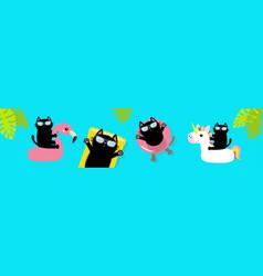 Hello summer black cat floating on white flamingo vector