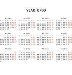Hexadecimal programming calendar 2013 vector