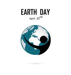 human and globe icon logo design templateearth vector image