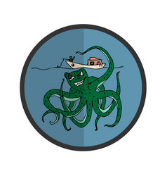 icon with an octopus who wants to get a fisherman vector image