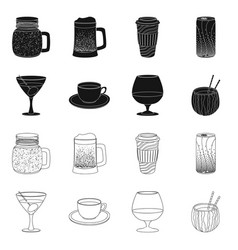 Isolated object drink and bar logo collection vector