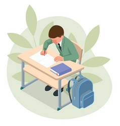 isometric children at school sit at their desks vector image
