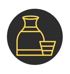jug and cup clay kitchen block and line icon vector image