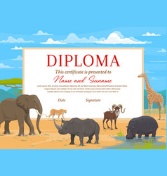 Kids diploma certificate template african animals vector