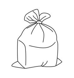 Line art black and white full trash bag vector