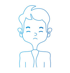 line sleepy man with elegant clothes and hairstyle vector image