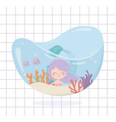 mermaid fishes coral cartoon under sea vector image
