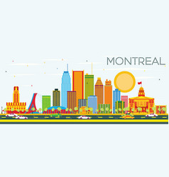 montreal skyline with color buildings and blue sky vector image