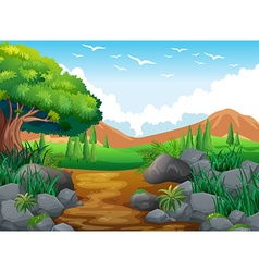 Nature scene with hills and trail vector