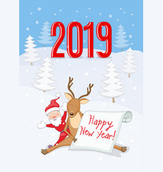 new year 2019 card with reindeer santa and scroll vector image