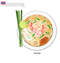 Pad Thai or Thai Stir Fried Noodles vector