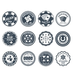 Poker black labels set vector